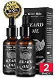 Meilleur choix 2 sachets d'huile de barbe de ricin pour hommes Soin de barbe, idéal pour la croissance de la barbe, lissant, hydratant, fortifiant - Ingrédients naturels purs (odeur de la lumière)
