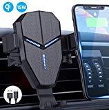 Qi Chargeur de voiture sans fil, Avolare Fast Charge automatique de soutien mobile automatique 15W LG, 10W Samsung S10/S10+/S9/S9+/S8/S8+/s7,7.5W iPhone 11/11 Pro/11Pro Max/XS/XS/XS Max/XR/X/8/8 Plus,5W avec câble USB C 0,8m