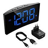 Réveil numérique Holife, (2020 mis à jour) Réveil numérique à affichage courbe, avec prise de charge, avec 3 sons d'alarme, fonction Snooze avec gros bouton, 2 volumes réglables - bleu