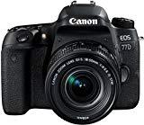 Canon EOS 77D - Appareil photo reflex 24,2 MP (vidéo Full HD, WiFi, Bluetooth) noir - kit carrosserie avec objectif EF-S 18-55 IS STM