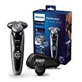 Philips 9000 Series S9711/41 - Rasoir à tête 8 voies, sec/humide et 3 modes, 60 min de batterie avec profileur de barbe 5 positions et étui de transport, argent