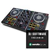Numark Party Mix - Contrôleur DJ 2 canaux plug-and-play pour Serato DJ Lite avec interface audio intégrée, commandes par pad, crossfader, jogwheels et affichage