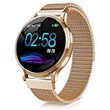 NAIXUES Smartwatch, bracelet d'activité intelligent IP67 avec moniteur de fréquence cardiaque, moniteur de sommeil, podomètre, calories femelles pour iOS et Android (or) (sans bracelet de remplacement)