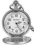 Classic Cadeaux de Noël Lisa Vintage en acier argenté montre de poche pour hommes