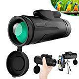 Télescope monoculaire Tencoz 12 x 50 HD étanche Télescope monoculaire mobile avec trépied et adaptateur pour Smartphone Monoculaires pour l'observation des oiseaux Chasse en camping