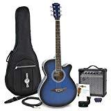 Ensemble de guitare électroacoustique avec cutaway + amplificateur bleu 15 W