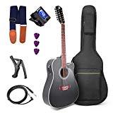 Vangoa 12-String Guitar 41 Inch Electric Acoustic 4 Band EQ Starter Kit Twelve-string Guitar Set