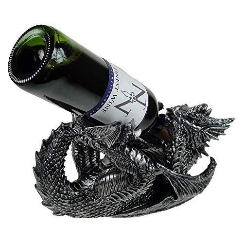 Nemesis Now Guzzlers - Porte-bouteille de vin (22 cm), motif de dragon, noir