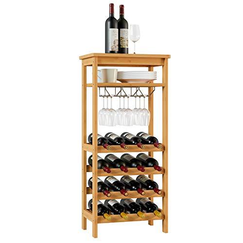 Casier à vin Homfa pour 16 bouteilles Casier à vin en bambou avec 4 niveaux Porte-gobelets 47x29x100cm