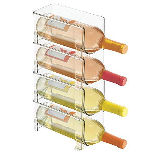mDesign Porte-bouteilles empilable - Porte-bouteilles d'une capacité de 4 bouteilles - L'accessoire de cuisine indispensable - transparent