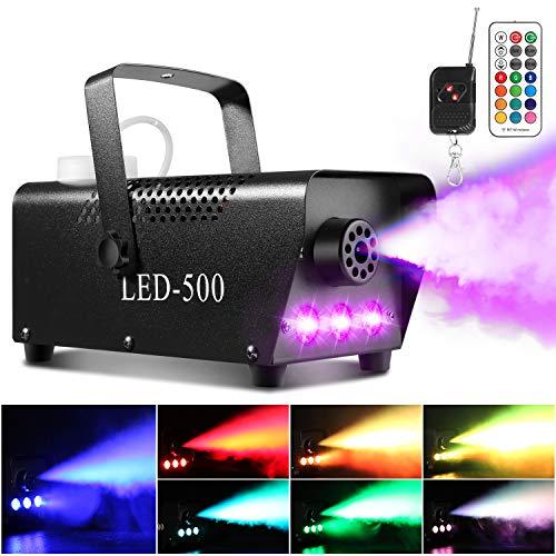 Machine à fumée AGPtEK avec 13 lumières LED colorées et effet RGB, 500 W et 2000 CFM avec 2 télécommandes filaires, parfaite pour les mariages, Halloween et les spectacles sur scène