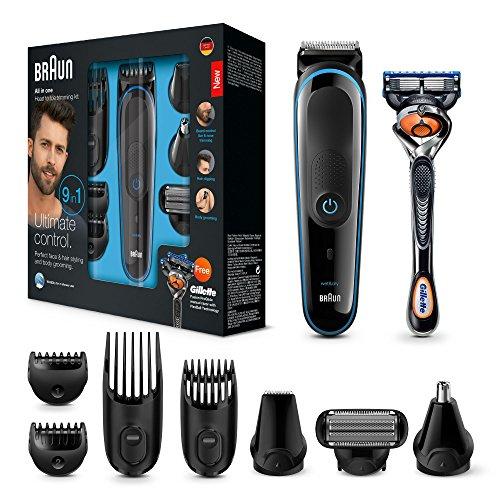 Braun 9 en 1 MGK3085 - Tondeuse à barbe pour homme Tondeuse à barbe tout en un, épilateur pour homme, tondeuse à cheveux, tondeuse pour le nez et les oreilles