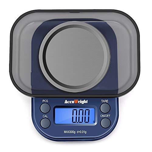 ACCUWEIGHT 255 Mini balance de précision numérique pour bijoux 300g x 0,01g Balance portable multifonction avec écran LCD rétro-éclairé, 6 unités, fonction de tarage et de comptage (PCS)