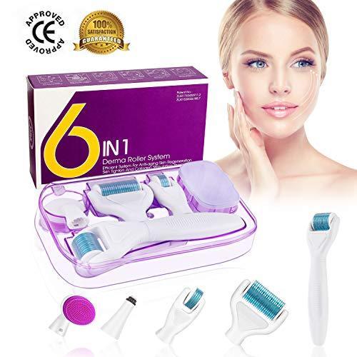 Dermaroller, Winpok 6 en 1 Derma Roller, Derma roller, Idéal pour traiter le visage, Anti-âge, Anti-rides, Rouleau facial en titane, pour les yeux, le visage, le corps