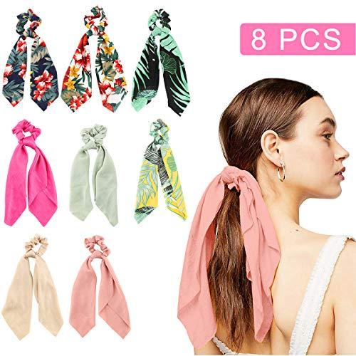 Scrunchies pour cheveux - Makone 8 pcs Satin pour cheveux de femmes Queue de cheval Bandes de cheveux sur pied Accessoires pour femmes (Hawaii Style)