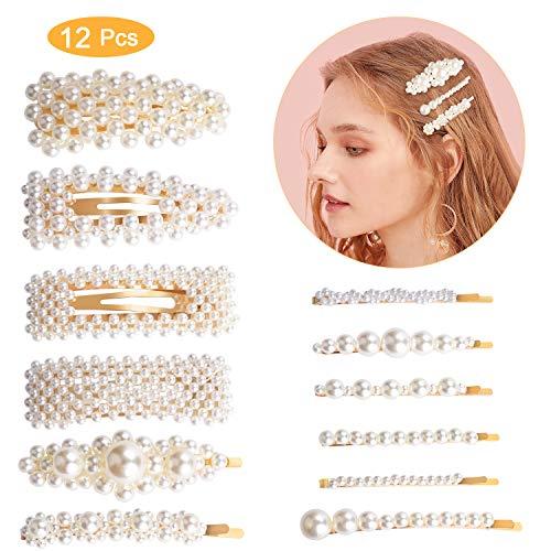 12 pinces à cheveux Pearl, pinces à cheveux Winpok Fashion, pinces à cheveux décoratives Pearl, épingle à cheveux pour femmes et filles