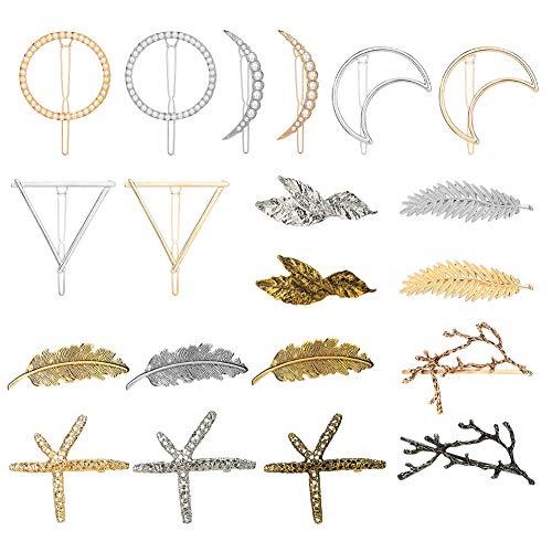 20Pcs Pinces à cheveux, Femmes Pinces à cheveux vintage Triangle de la lune Cercle de plumes Pinces à cheveux en métal