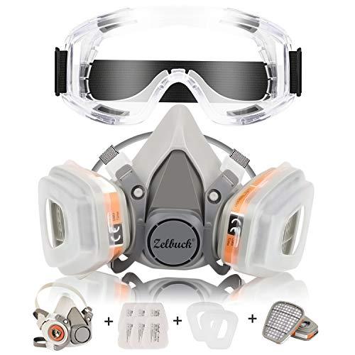 Masque à gaz réutilisable Zelbuck 107 avec lunettes de sécurité Protection respiratoire Semi-masque à double filtre pour peinture, poussière, produits chimiques, ponçage à la machine, formaldéhyde