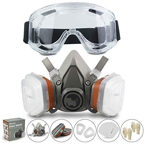 Masque respiratoire réutilisable RHINO contre les poussières de gaz, peinture, produits chimiques, ponçage à la machine, formaldéhyde avec lunettes de sécurité, demi-masque avec filtre à particules