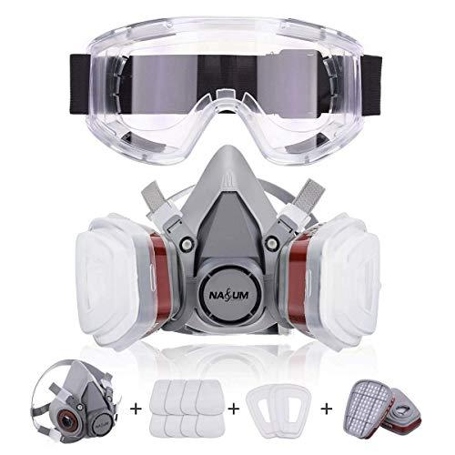 Masque respiratoire anti-poussière NASUM avec 2 filtres / 2 boîtes / 8 cotons/lunettes, pour la poussière/particules/vapeur/gaz, pour l'artisanat/les vêtements/la pulvérisation, etc.