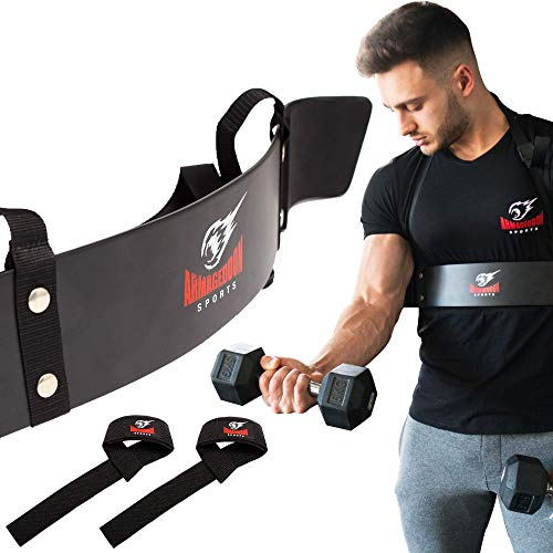 Premium Arm Blaster + BONUS Premium Courroies de levage, Biceps Isolator Blaster Bomber Weight Lifting Arm Curl