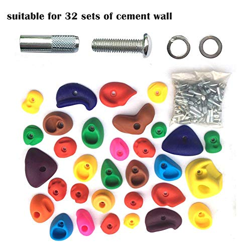 par 32 Pièces de texture d'escalade pour enfants avec accessoires d'installation Jeux de pierres d'escalade pour jardins d'enfants (pour murs en ciment)
