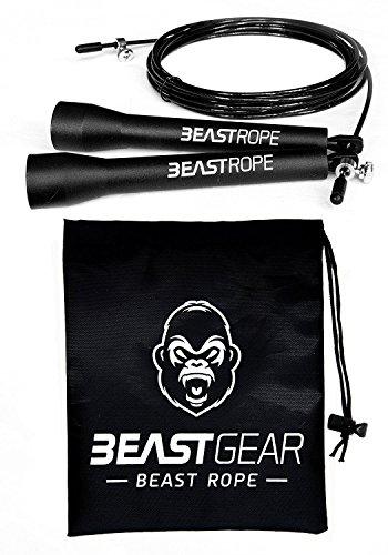 La corde à sauter à grande vitesse de Beast Gear. Combats croisés, boxe, MMA. Longueur ajustable et roulements légers, idéal pour les doubles sauts. Garantie à vie