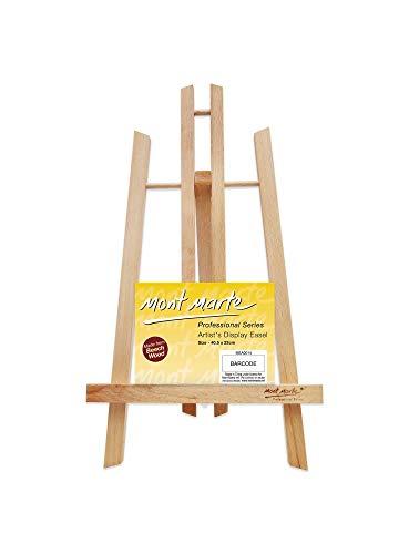 Chevalet MONT MARTE Petite table en bois de hêtre - Moyen - Chevalet compact - Idéal pour présenter des toiles et des cadres jusqu'à 40 cm - Idéal pour les événements, les expositions et les congrès