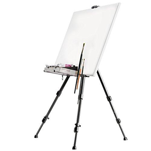 Walimex 18429 - Support à peinture en aluminium (avec porte-brosse), Capacité MAX : Environ 6 kg, Couleur Noir, 122 cm de hauteur, 4 cm de profondeur