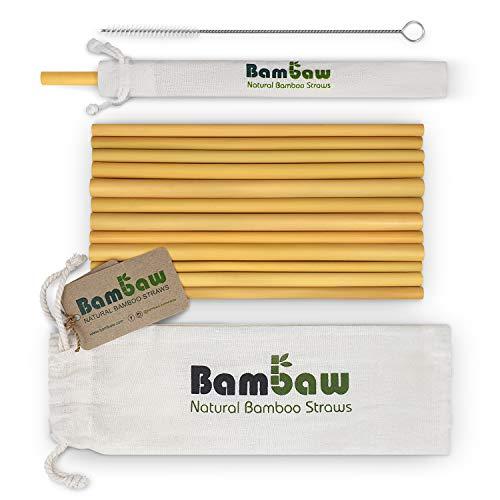 Pailles en bambou | Pailles réutilisables | Fabriquées à Bali | Paquets de 12 pailles biodégradables | Pailles à cocktail | Pailles longues | Comprend une brosse de nettoyage et un sac en jute (22 cm)