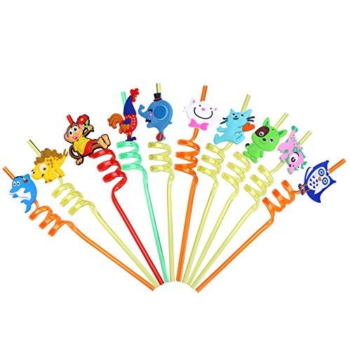 LOKIPA 10 Pailles frisées pour fêtes d'animaux, réutilisables, en plastique, frisées, pour fêtes d'anniversaire, pour enfants, sac de fête, remplissage de douche pour bébés
