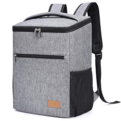 Lifewit Grand sac à dos thermique Sac à nourriture Sac de refroidissement isolant Grande sangle réglable Pique-nique, fête, camping, gris (sac à dos gris)