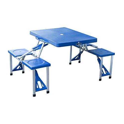 Table pliante Outsunny 4 sièges et parasol troué Structure en aluminium Camping Beach Picnic