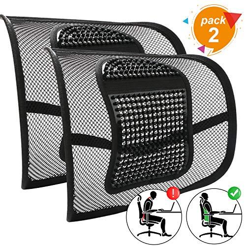 Coussin de soutien lombaire en maille RenFox Coussin de soutien lombaire ergonomique pour chaise de bureau Correction de la posture en voiture Soulagement des douleurs lombaires (noir, 2 pièces)