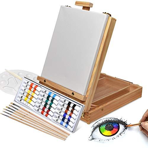 Artina Florenz set de peinture de 28 pièces coffret de table de chevalet pour professionnels et amateurs 18 couleurs acryliques, toile, 6 pinceaux et palette