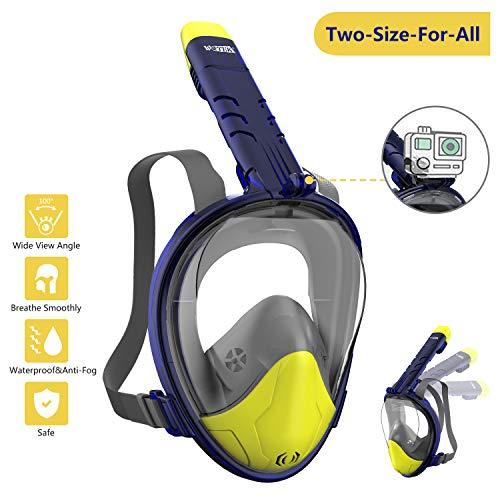 Masque de plongée WOTEK Lunettes de plongée panoramiques à 180°, antibuée et anti-fuite, support de caméra de sport pour adultes, enfants et hommes