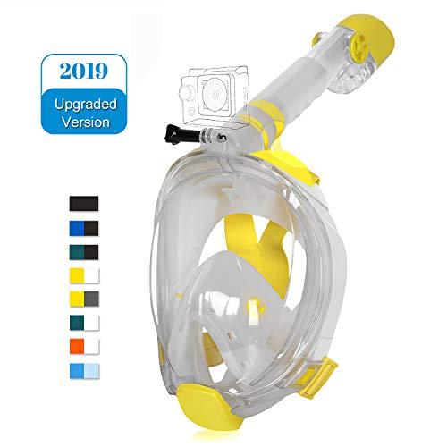 Masque de plongée Unigear Lunettes de plongée Snorkel Full Face Adult 180° Panoramic View with Camera for Diving Anti-Fog Swim Dernier modèle (Jaune+Blanc, S/M)