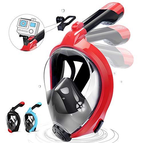 Masque de plongée intégral HENGBIRD Masque de plongée antibuée Masque de plongée intégral Lunettes de protection à 180° Support pour caméra de sport visible (réseau L/XL)