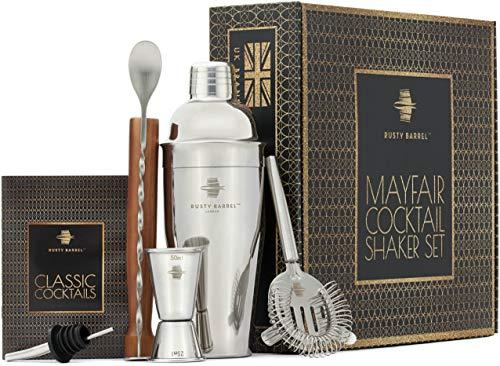 Kit de shaker à cocktail Mayfair Rusty Barrel - Grand shaker à cocktail Manhattan, shaker en bois, filtre Hawthorne, lunettes de baromètre, embout, cuillère et livre de cocktail | Livré dans une boîte cadeau
