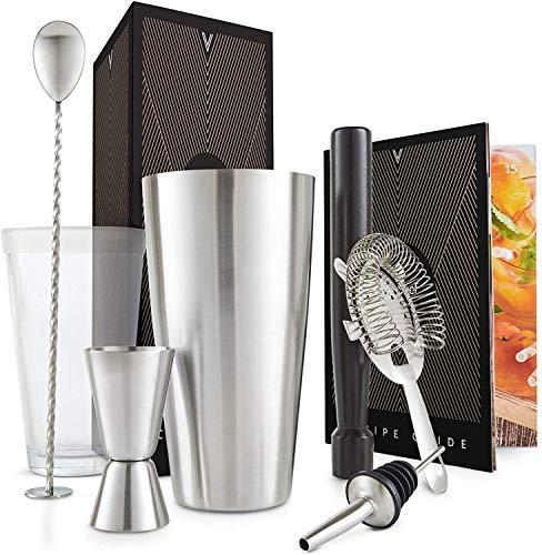 VonShef Boston - Set de shaker à cocktail dans une boîte cadeau avec accessoires, comprenant un verre, des pulls, une passoire, une cuillère, un verseur, un guide de recettes, de l'acier inoxydable, de couleur argent, 2
