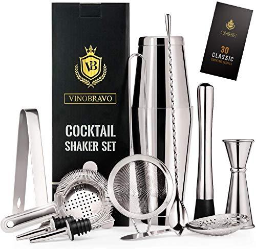 Shaker Boston 11 piècesBravo : 2 boîtes de shaker à cocktail, un jeu de filtres, un double jigger, une cuillère à café, un fouet à glace et une pince, 2 décharges d'alcool et un guide de recettes de cocktails