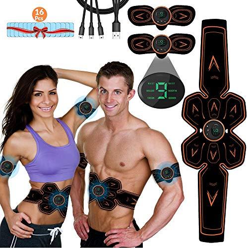 Stimulateur de muscles abdominaux iThrough, ceinture de stimulation des muscles abdominaux EMS, stimulateur musculaire USB rechargeable en ABS pour les abdominaux, les bras, les jambes et les fesses, coussinets de gel 16pcs