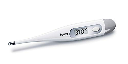 Thermomètre numérique et corporel Beurer FT09, résistant à l'eau, écran LCD avec plage de mesure de +/- 0,1 °C, signal acoustique, sans mercure, sans verre, couleur blanche