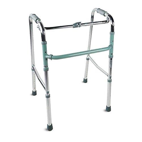 Mobiclinic, Modèle à colonnes, Cadre de marche pour adultes, personnes âgées ou handicapées, aluminium, léger, pliable, avec siège et sans roues, Couleur Gris