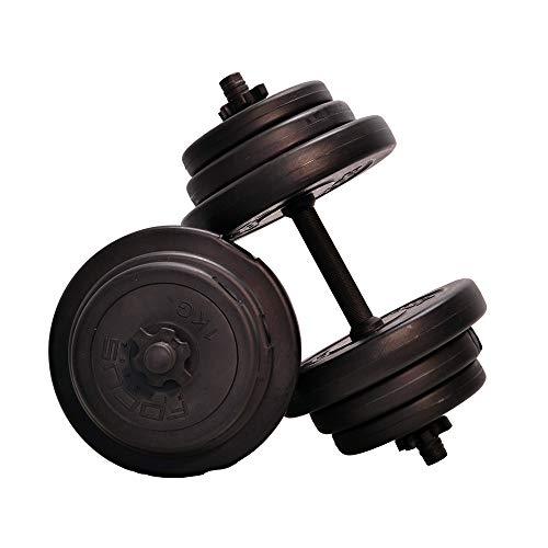Focus Fitness - Ensemble d'haltères courts ajustables pour adultes, 20 kg, couleur noire